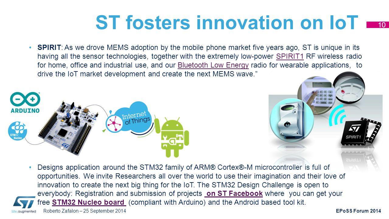 Roberto Zafalon – 25 September 2014 EPoSS Forum 2014 ST fosters innovation on IoT SPIRIT: As we drove MEMS adoption by the mobile phone market five ye