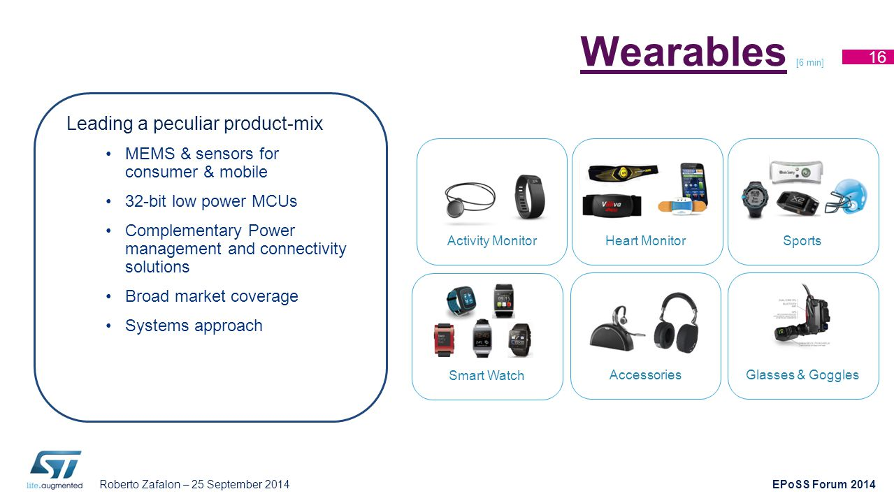 Roberto Zafalon – 25 September 2014 EPoSS Forum 2014 WearablesWearables [6 min] 16 Smart Watch Accessories Activity MonitorHeart MonitorSports Glasses