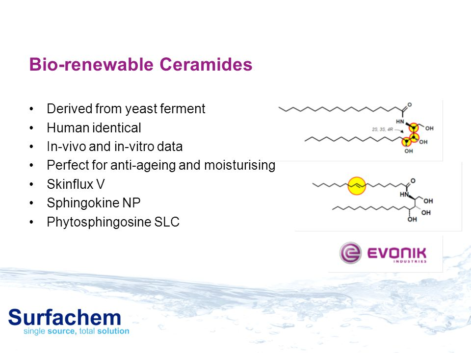 Bio-renewable Ceramides Derived from yeast ferment Human identical In-vivo and in-vitro data Perfect for anti-ageing and moisturising Skinflux V Sphin