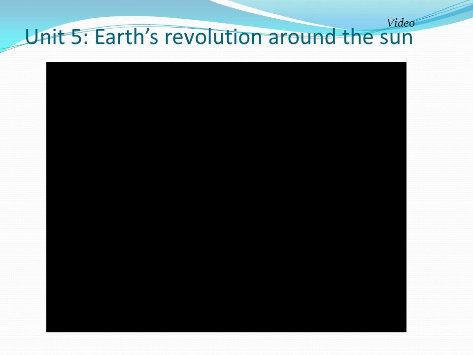 Unit 5: Earth's revolution around the sun Video