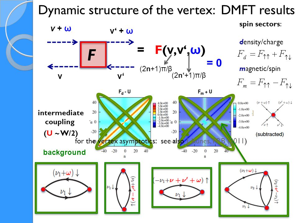 F ν + ω ν ' + ω ν'ν'ν Dynamic structure of the vertex: DMFT results = F( ν, ν ', ω ) spin sectors: density/charge magnetic/spin background = 0 intermediate coupling (U ~ W/2) (2n+1)π/β (2n'+1)π/β for the vertex asymptotics : see also J.