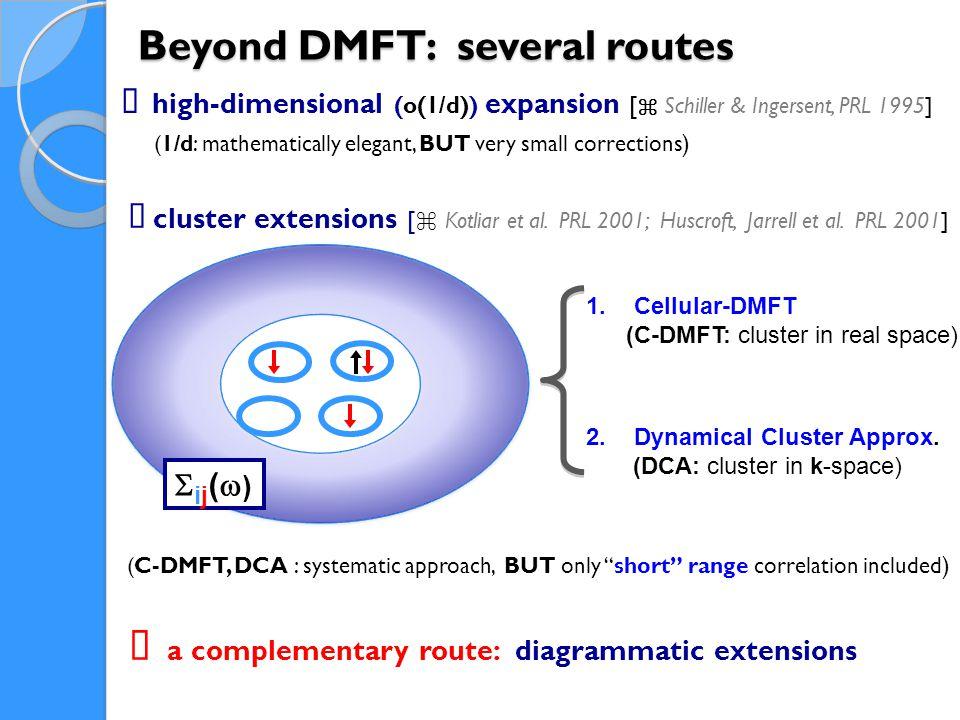 Beyond DMFT: several routes 1.Cellular-DMFT (C-DMFT: cluster in real space) 2.Dynamical Cluster Approx.