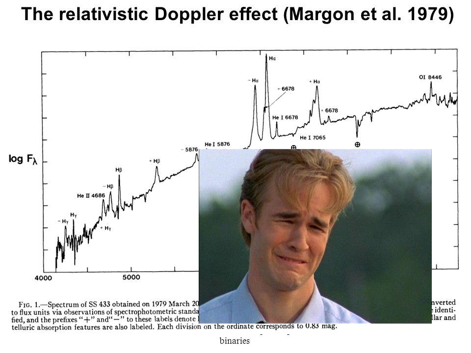 Tsevi Mazeh: Leuven-Spectrospic binaries 12 The relativistic Doppler effect (Margon et al. 1979)