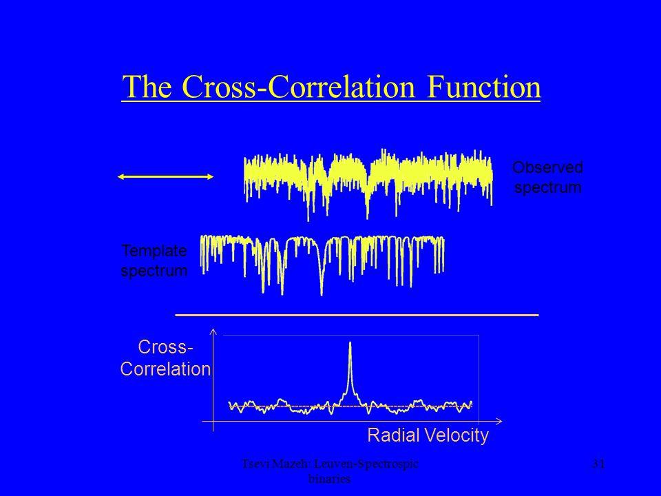 31 The Cross-Correlation Function Observed spectrum Template spectrum Radial Velocity Cross- Correlation Tsevi Mazeh: Leuven-Spectrospic binaries