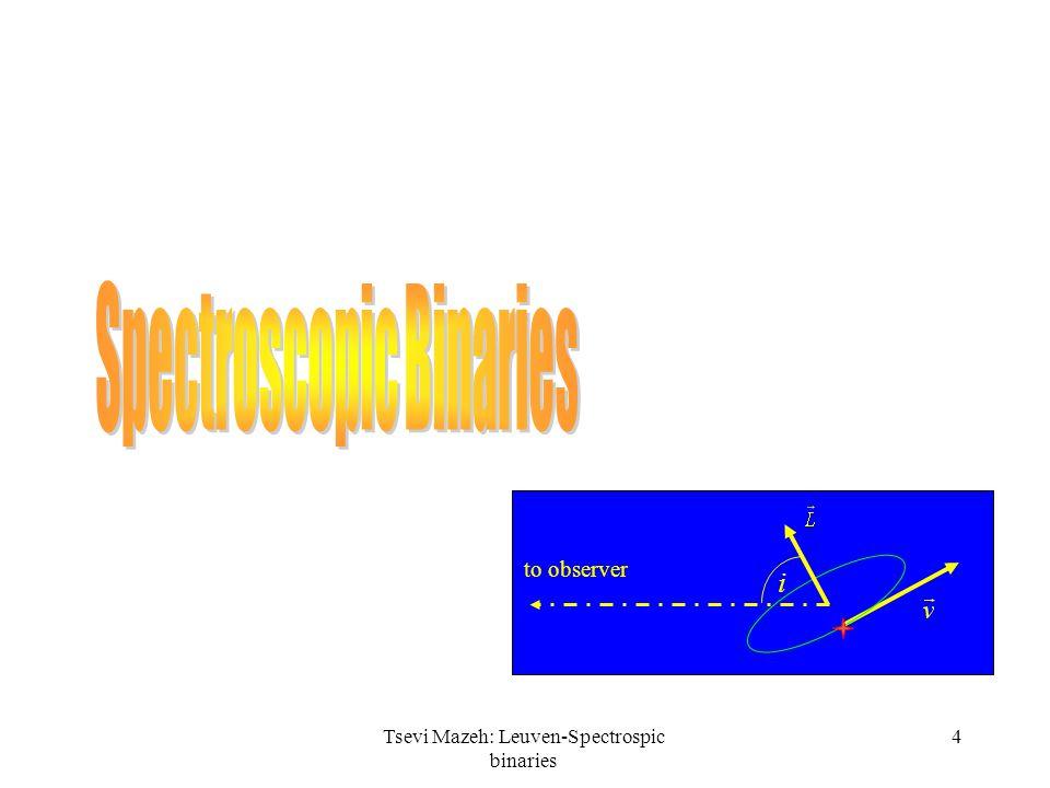 4Tsevi Mazeh: Leuven-Spectrospic binaries i to observer