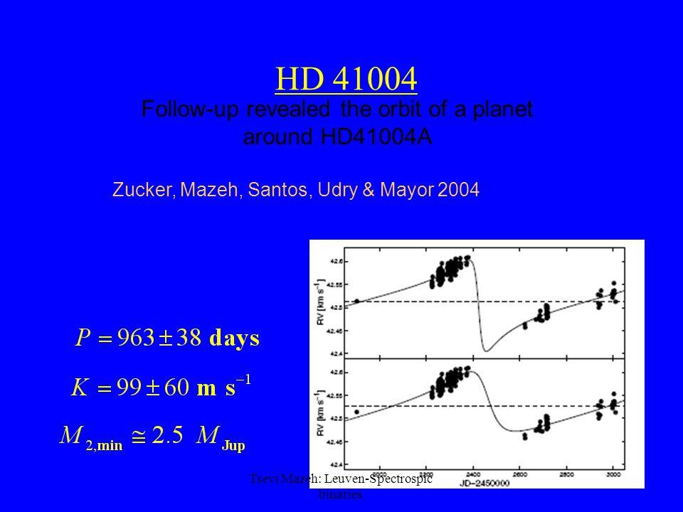 56 HD 41004 Follow-up revealed the orbit of a planet around HD41004A Zucker, Mazeh, Santos, Udry & Mayor 2004 Tsevi Mazeh: Leuven-Spectrospic binaries