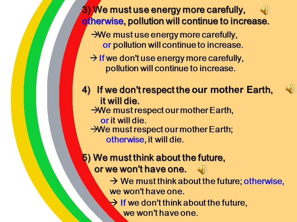 1)We must change our attitude, or there will be an ecological disaster. or there will be an ecological disaster. 2) If we don't save the plants and an