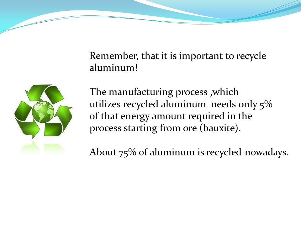Remember, that it is important to recycle aluminum.