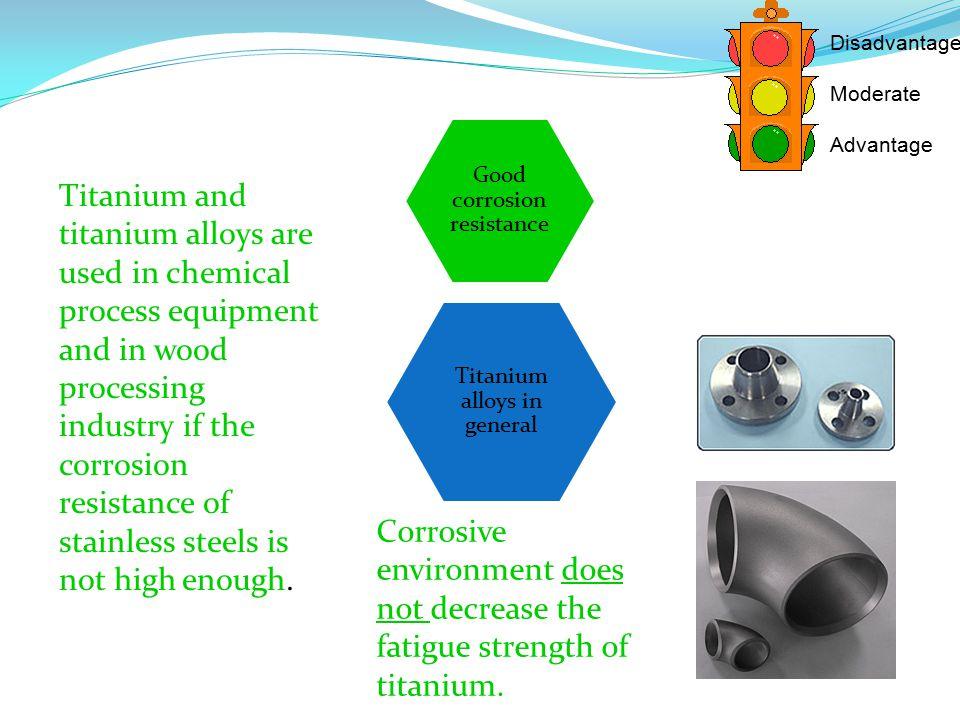 Titanium alloys in general Good corrosion resistance Disadvantage Moderate Advantage Titanium and titanium alloys are used in chemical process equipme