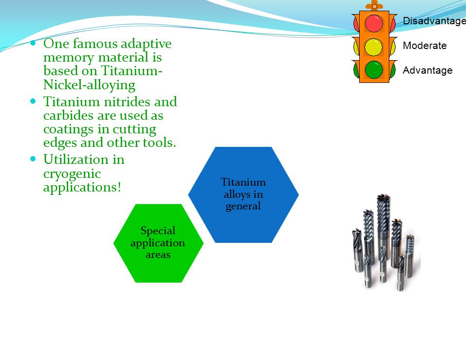 Titanium alloys in general Special application areas Disadvantage Moderate Advantage One famous adaptive memory material is based on Titanium- Nickel-alloying Titanium nitrides and carbides are used as coatings in cutting edges and other tools.