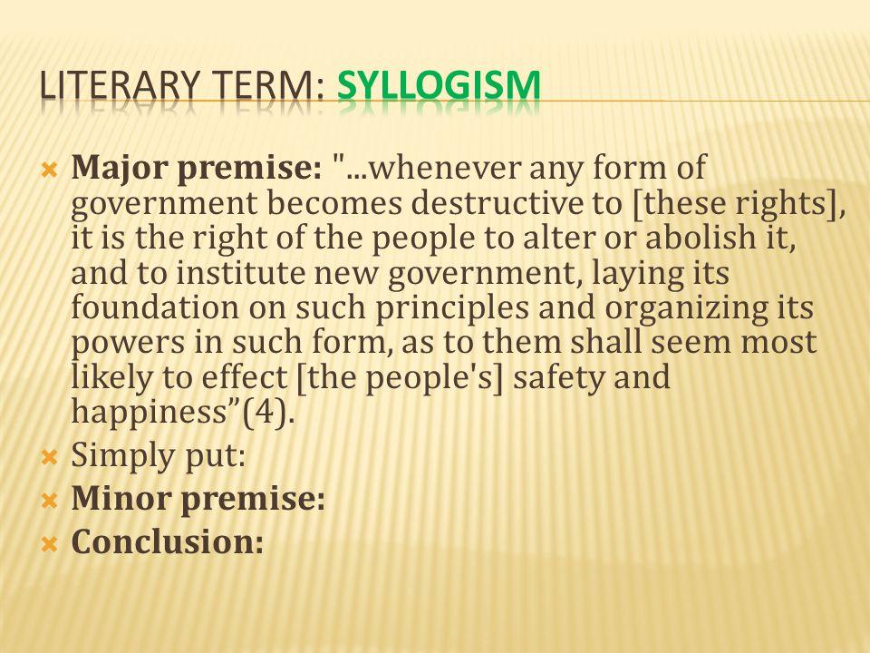  Major premise:
