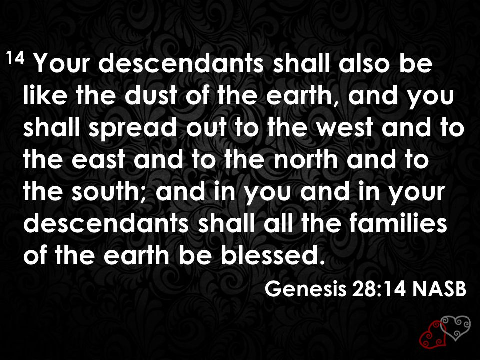 14 Your descendants shall also be like the dust of the earth, and you shall spread out to the west and to the east and to the north and to the south;