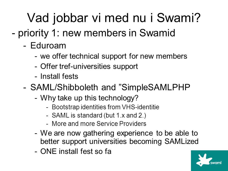 Vad jobbar vi med nu i Swami.