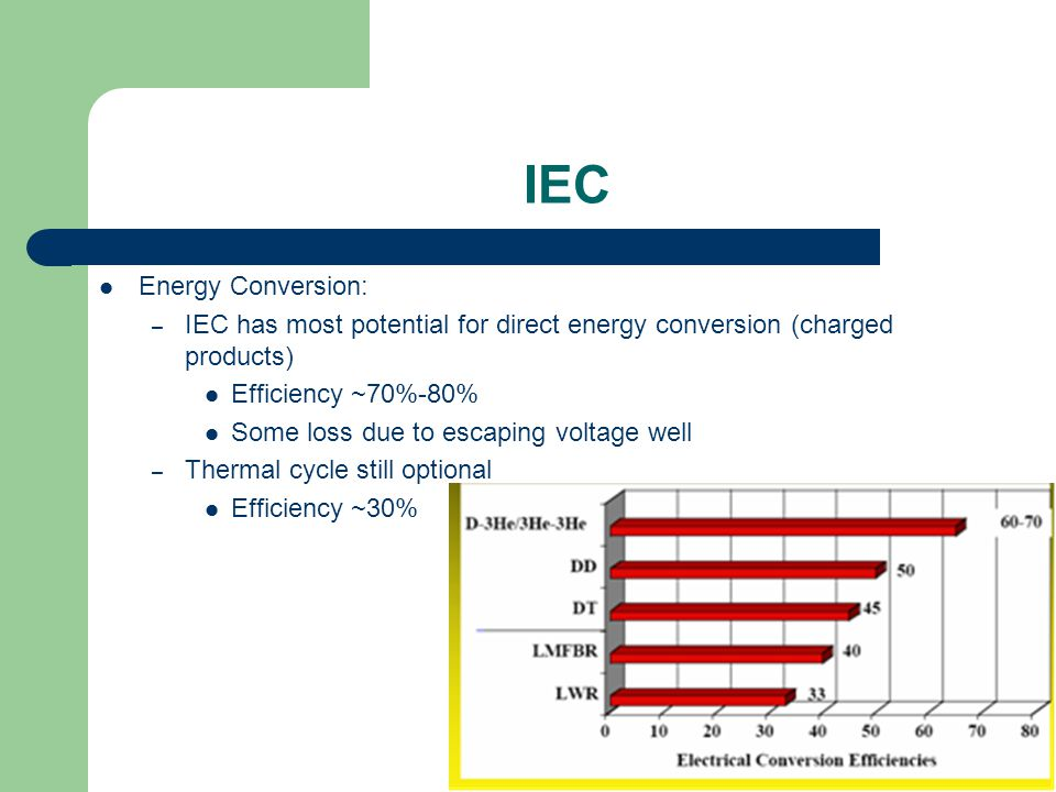 IEC Energy Conversion: – IEC has most potential for direct energy conversion (charged products) Efficiency ~70%-80% Some loss due to escaping voltage