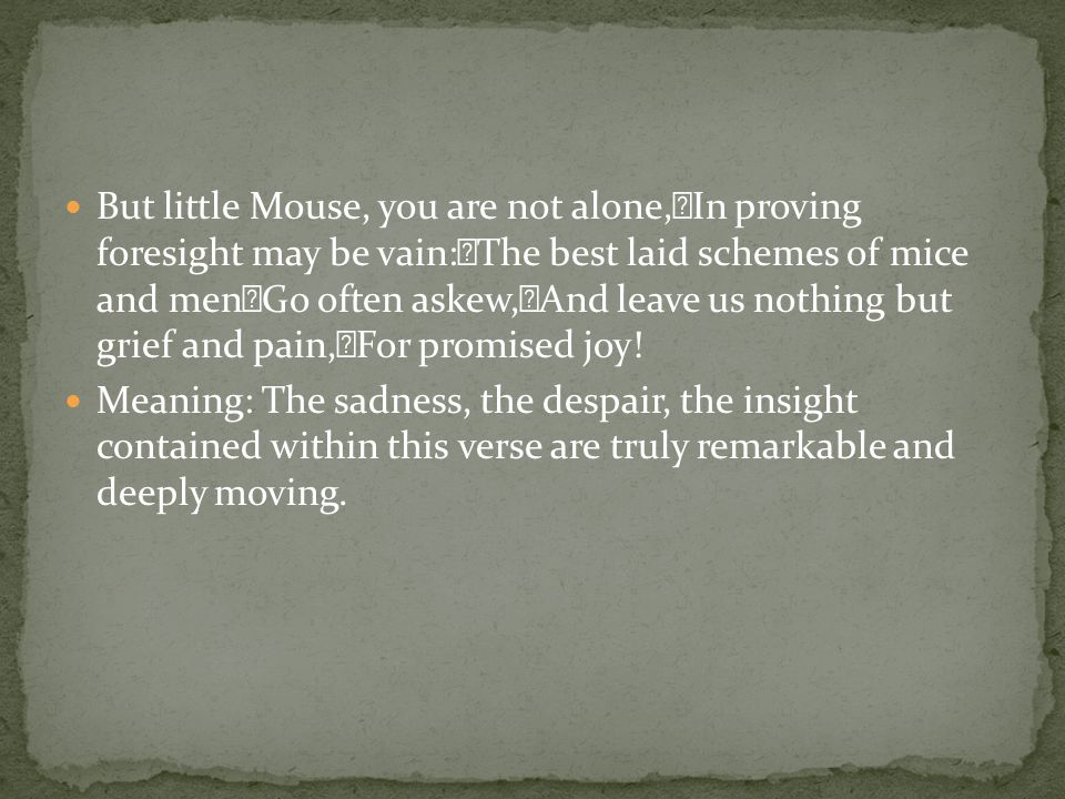 But little Mouse, you are not alone, In proving foresight may be vain: The best laid schemes of mice and men Go often askew, And leave us nothing but grief and pain, For promised joy.