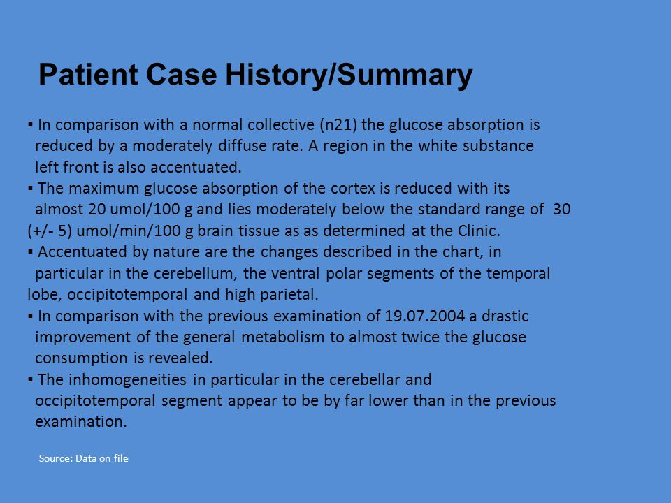 Patient Case History/Summary ▪ In comparison with a normal collective (n21) the glucose absorption is reduced by a moderately diffuse rate.