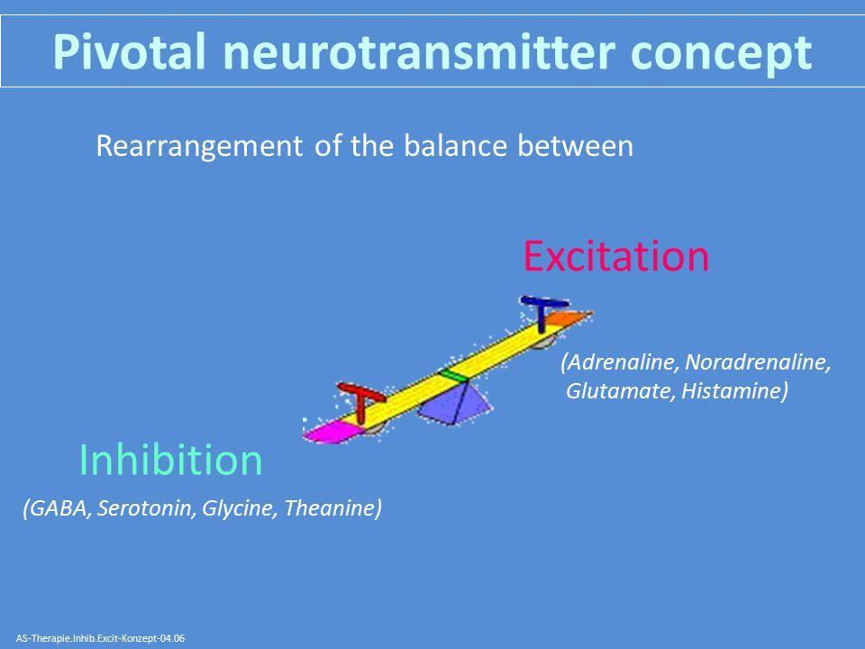 Pivotal neurotransmitter concept Inhibition AS-Therapie.Inhib.Excit-Konzept-04.06 (GABA, Serotonin, Glycine, Theanine) Rearrangement of the balance between Excitation (Adrenaline, Noradrenaline, Glutamate, Histamine)