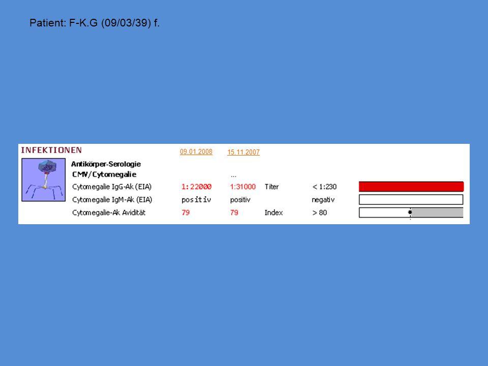 Patient: F-K.G (09/03/39) f. 15.11.2007 09.01.2008