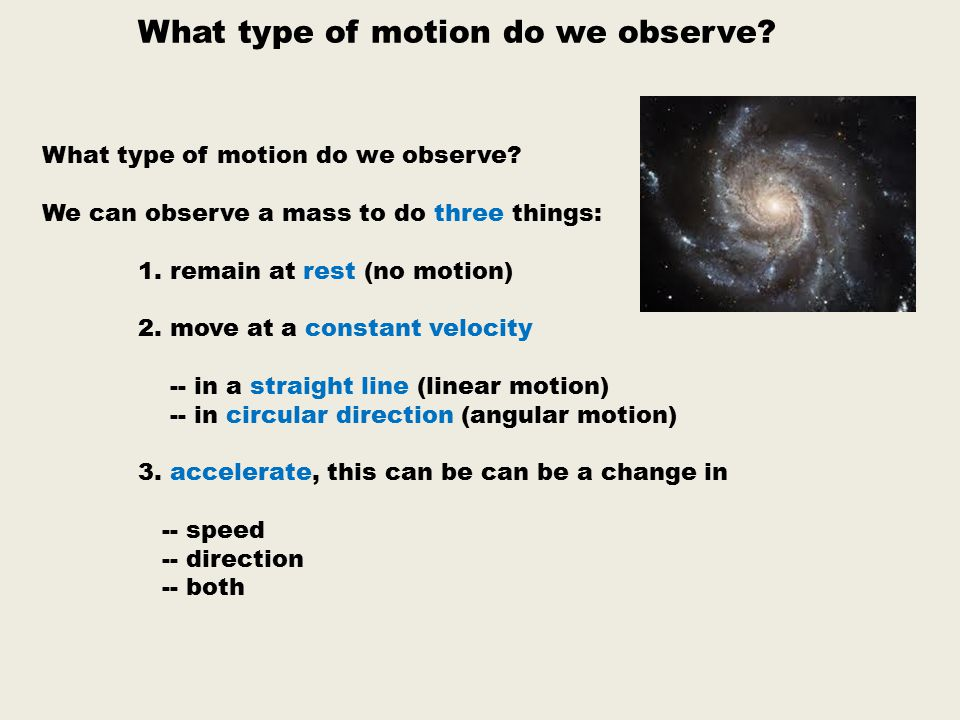 What type of motion do we observe.We can observe a mass to do three things: 1.