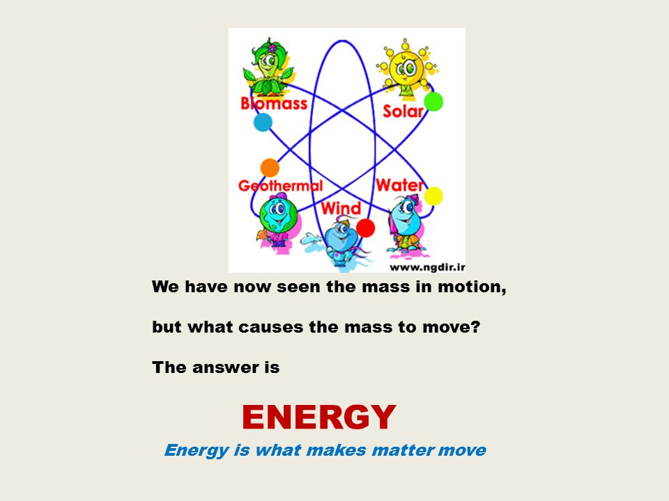 We have now seen the mass in motion, but what causes the mass to move.