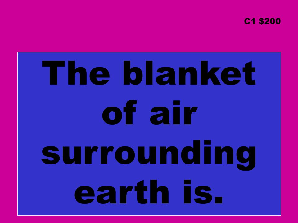 The blanket of air surrounding earth is. C1 $200