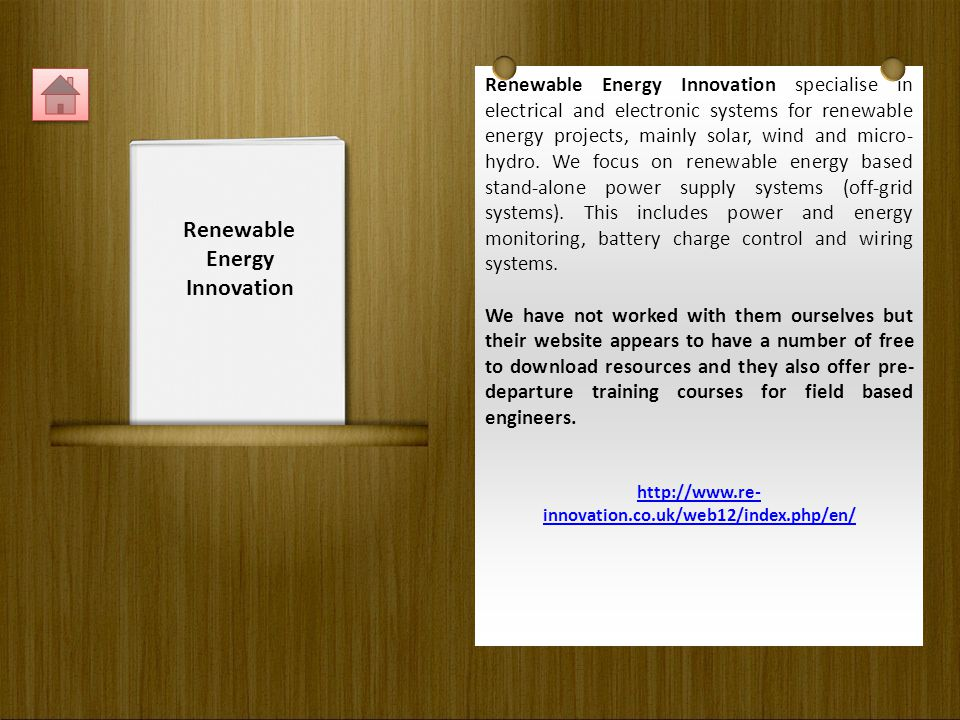 Renewable Energy Innovation specialise in electrical and electronic systems for renewable energy projects, mainly solar, wind and micro- hydro.