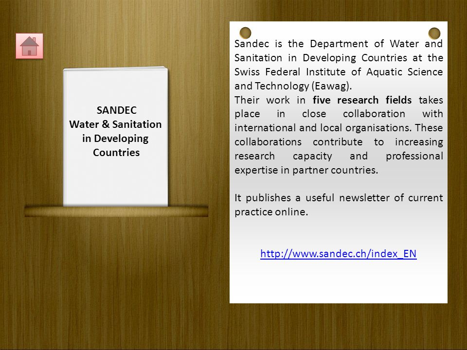 Sandec is the Department of Water and Sanitation in Developing Countries at the Swiss Federal Institute of Aquatic Science and Technology (Eawag).