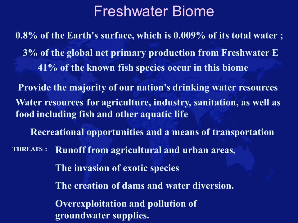 Freshwater- Wetlands Areas of standing water that support aquatic plants.