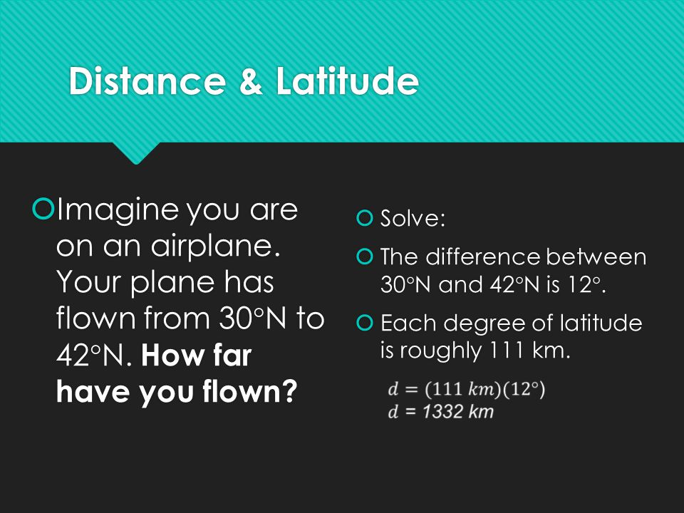 Distance & Latitude  Imagine you are on an airplane. Your plane has flown from 30  N to 42  N. How far have you flown?  Solve:  The difference be