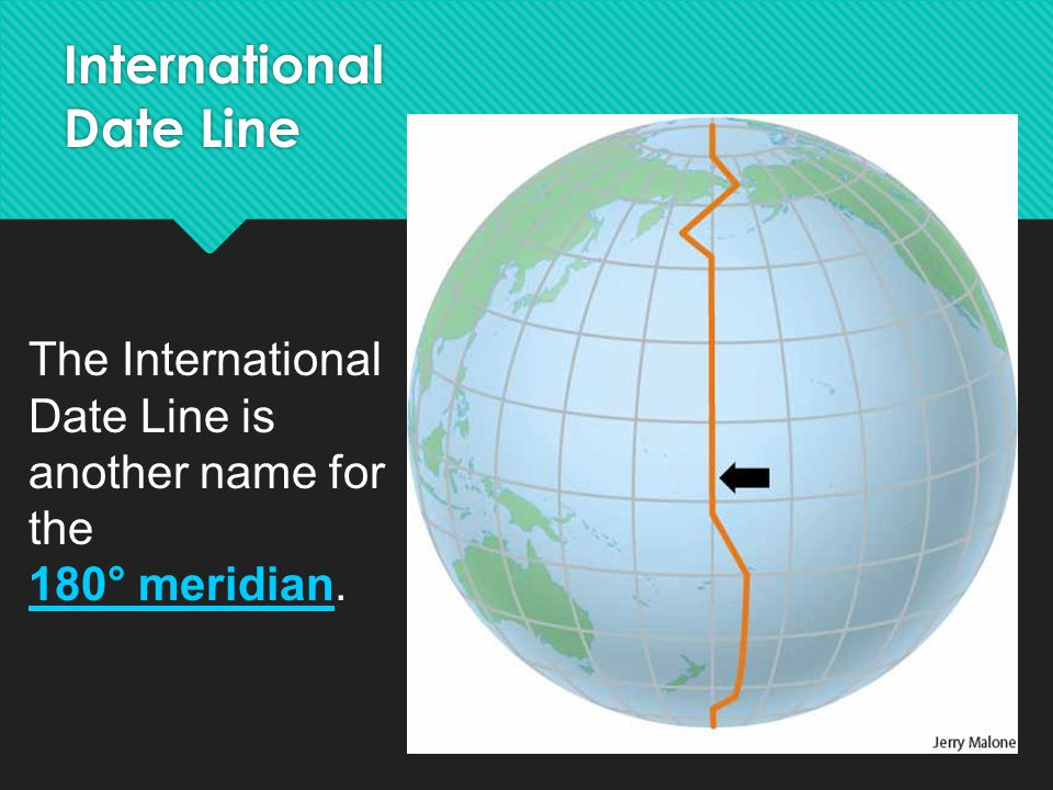 The International Date Line is another name for the 180° meridian. International Date Line
