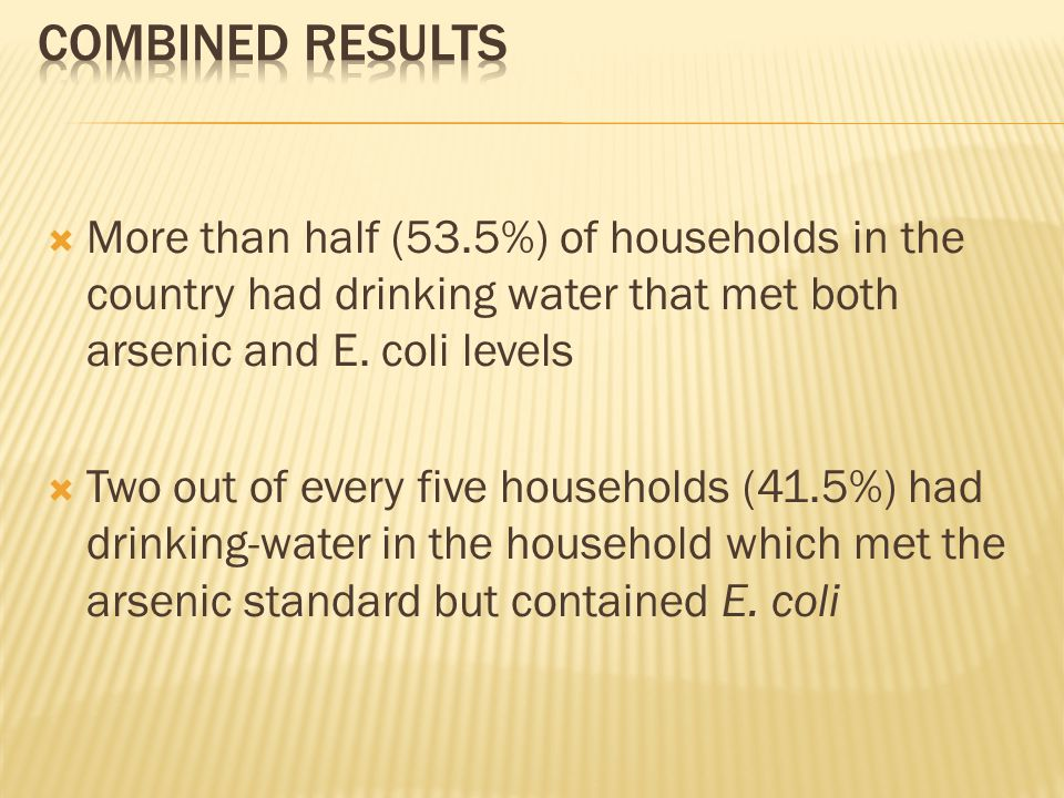  More than half (53.5%) of households in the country had drinking water that met both arsenic and E.