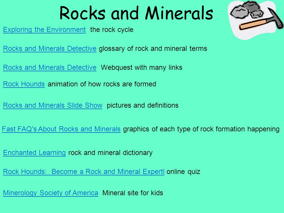 Rocks and Minerals Rocks and Minerals DetectiveRocks and Minerals Detective glossary of rock and mineral terms Rocks and Minerals DetectiveRocks and Minerals Detective Webquest with many links Rock HoundsRock Hounds animation of how rocks are formed Rocks and Minerals Slide ShowRocks and Minerals Slide Show pictures and definitions Fast FAQ s About Rocks and MineralsFast FAQ s About Rocks and Minerals graphics of each type of rock formation happening Enchanted LearningEnchanted Learning rock and mineral dictionary Rock Hounds: Become a Rock and Mineral ExpertlRock Hounds: Become a Rock and Mineral Expertl online quiz Minerology Society of AmericaMinerology Society of America Mineral site for kids Exploring the EnvironmentExploring the Environment the rock cycle