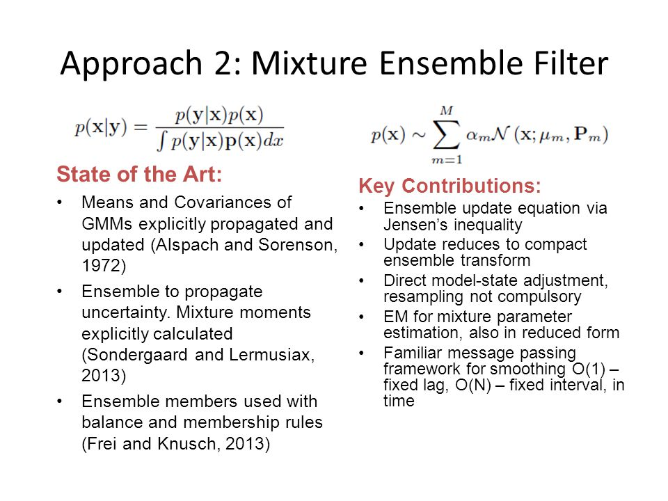 Approach 2: Mixture Ensemble Filter State of the Art: Means and Covariances of GMMs explicitly propagated and updated (Alspach and Sorenson, 1972) Ensemble to propagate uncertainty.