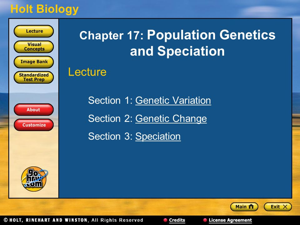 Holt Biology Chapter 17: Population Genetics and Speciation Section 1: Genetic VariationGenetic Variation Section 2: Genetic ChangeGenetic Change Section 3: SpeciationSpeciation Lecture