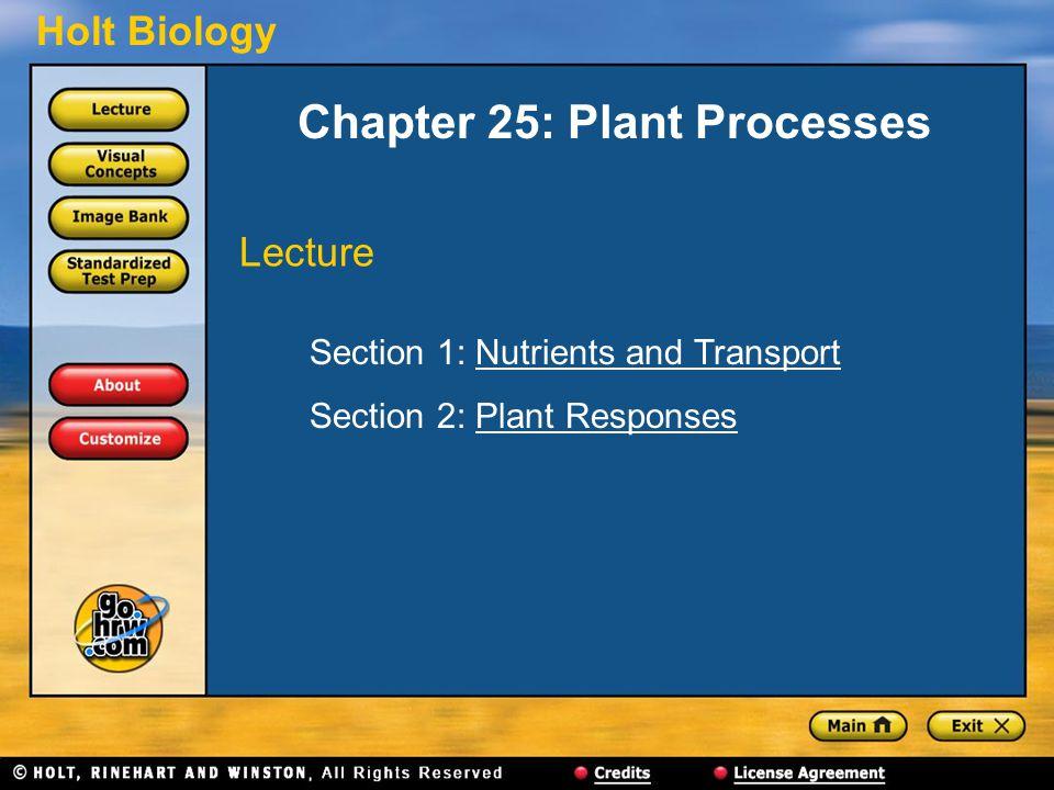 Holt Biology Chapter 25: Plant Processes Section 1: Nutrients and TransportNutrients and Transport Section 2: Plant ResponsesPlant Responses Lecture