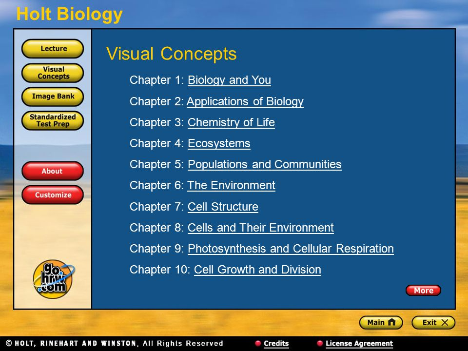 Holt Biology Chapter 1: Biology and YouBiology and You Chapter 2: Applications of BiologyApplications of Biology Chapter 3: Chemistry of LifeChemistry of Life Chapter 4: EcosystemsEcosystems Chapter 5: Populations and CommunitiesPopulations and Communities Chapter 6: The EnvironmentThe Environment Chapter 7: Cell StructureCell Structure Chapter 8: Cells and Their EnvironmentCells and Their Environment Chapter 9: Photosynthesis and Cellular RespirationPhotosynthesis and Cellular Respiration Chapter 10: Cell Growth and DivisionCell Growth and Division Visual Concepts