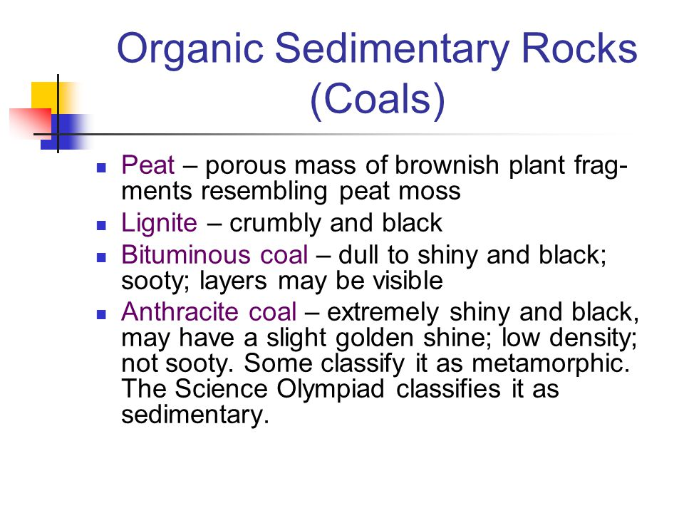Organic Sedimentary Rocks (Coals) Peat – porous mass of brownish plant frag- ments resembling peat moss Lignite – crumbly and black Bituminous coal –