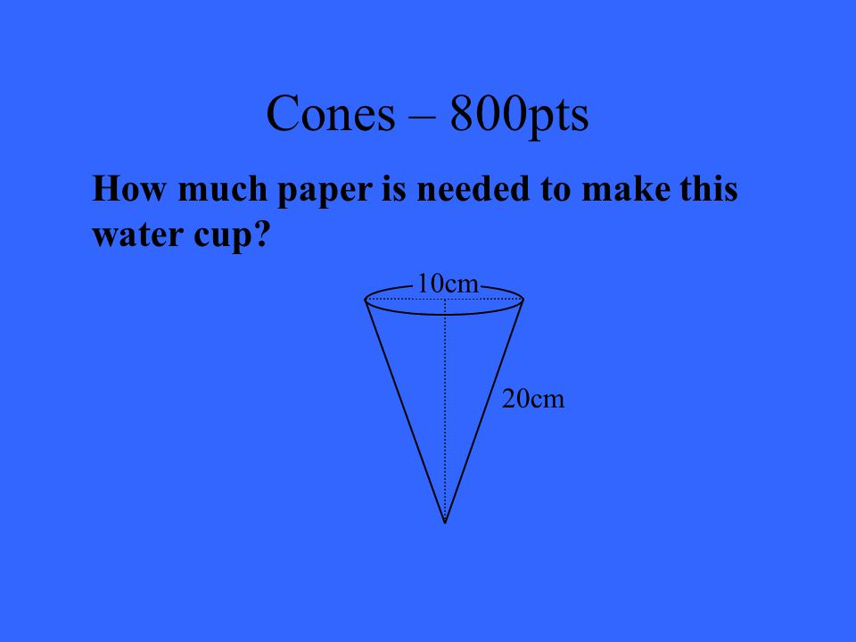 Cones – 600pts 100  unit 3  314.2 unit 3