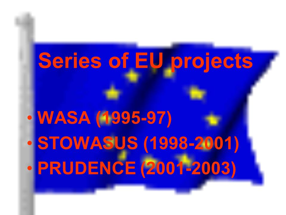 Series of EU projects WASA (1995-97) STOWASUS (1998-2001) PRUDENCE (2001-2003)