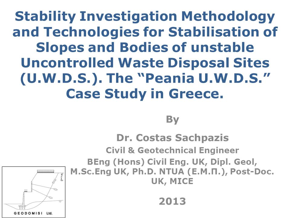 THE PEANIA U.W.D.S. CASE STUDY IN ATHENS – GREECE (3/3) Details of typical cross section view of construction of the cement grout injection borehole (jet grouting piles), for the geotechnical reinforcement, improvement and enhancement of the mechanical properties of the upper man made backfilling material - debris - garbage layers in the immediate development zone of the unstable high slopes of the «Peania U.W.D.S.».
