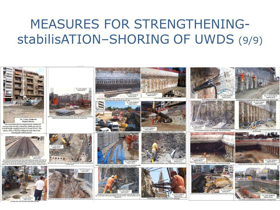 MEASURES FOR STRENGTHENING- stabilisATION–SHORING OF UWDS (9/9)