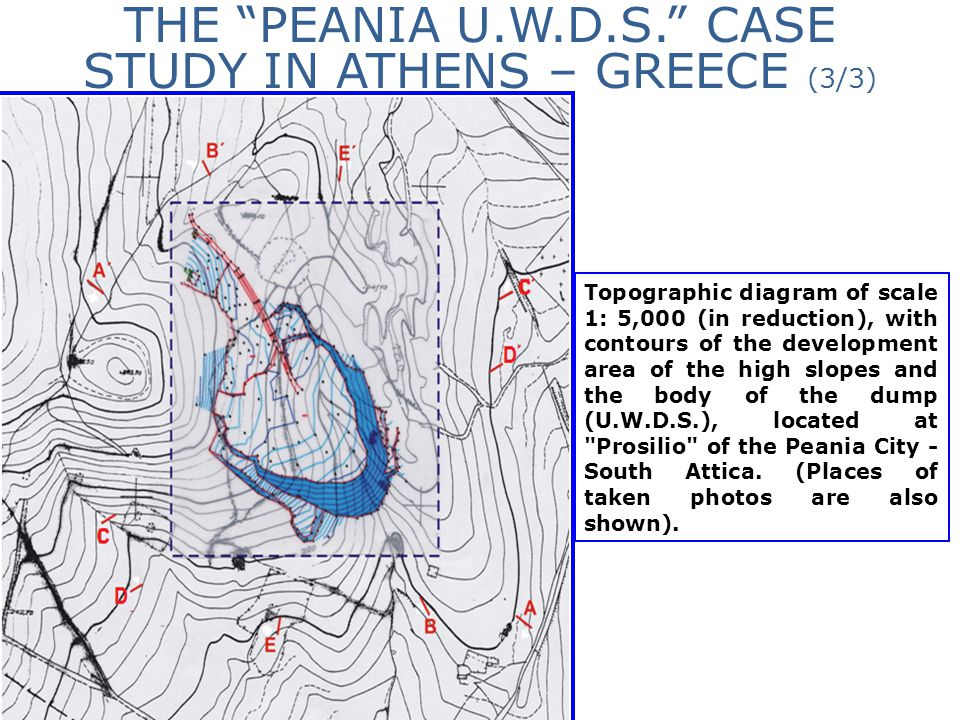 """THE """"PEANIA U.W.D.S."""" CASE STUDY IN ATHENS – GREECE (3/3) Topographic diagram of scale 1: 5,000 (in reduction), with contours of the development area"""