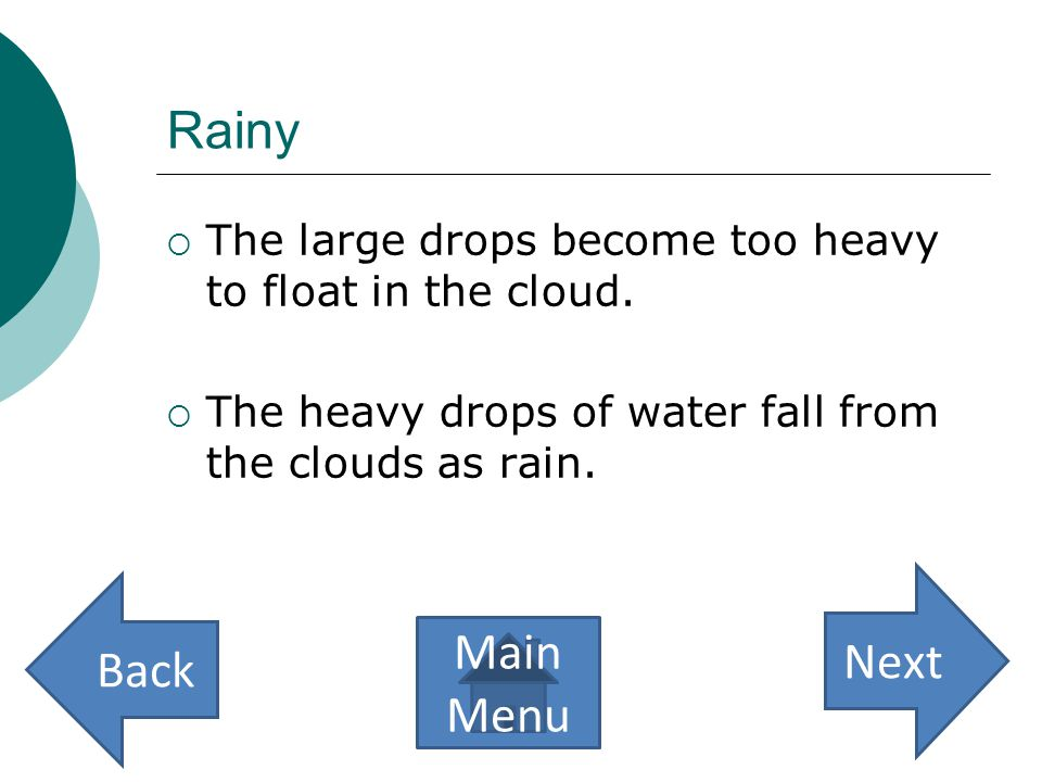 Rainy  Too much rain can cause a flood.