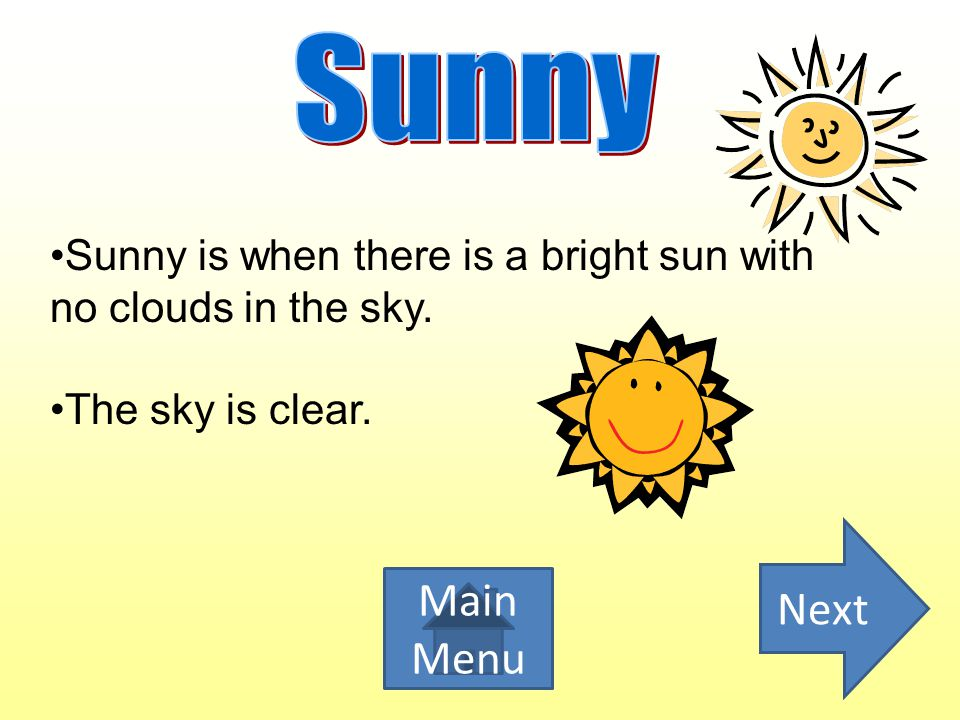 Sunny weather happens in all four seasons.Sunny usually means warmer temperature outside.