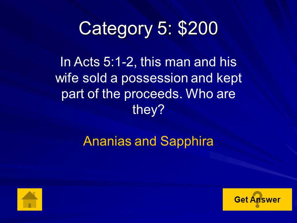 Category 5: $100 In Acts 3:6, who said, Silver and gold I do not have, but what I do have I give you … Peter Get Answer