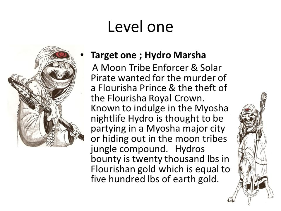 Level one Target one ; Hydro Marsha A Moon Tribe Enforcer & Solar Pirate wanted for the murder of a Flourisha Prince & the theft of the Flourisha Royal Crown.