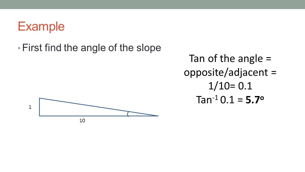 Example First find the angle of the slope 1 10 Tan of the angle = opposite/adjacent = 1/10= 0.1 Tan -1 0.1 = 5.7 o