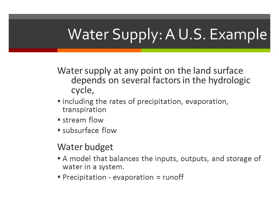 Water Supply: A U.S. Example Water supply at any point on the land surface depends on several factors in the hydrologic cycle,  including the rates o