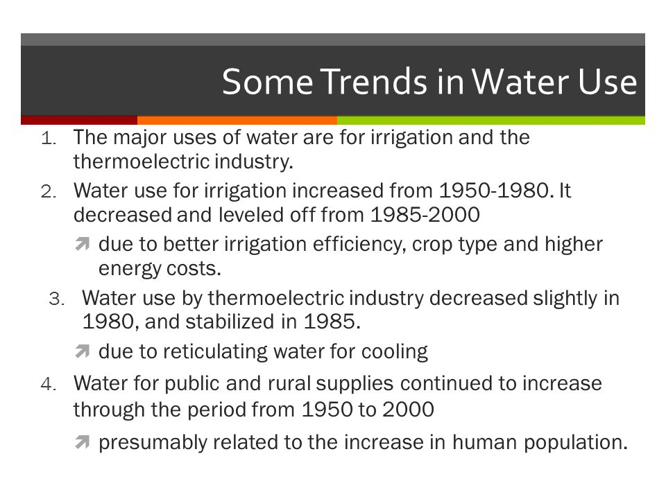 Some Trends in Water Use 1.