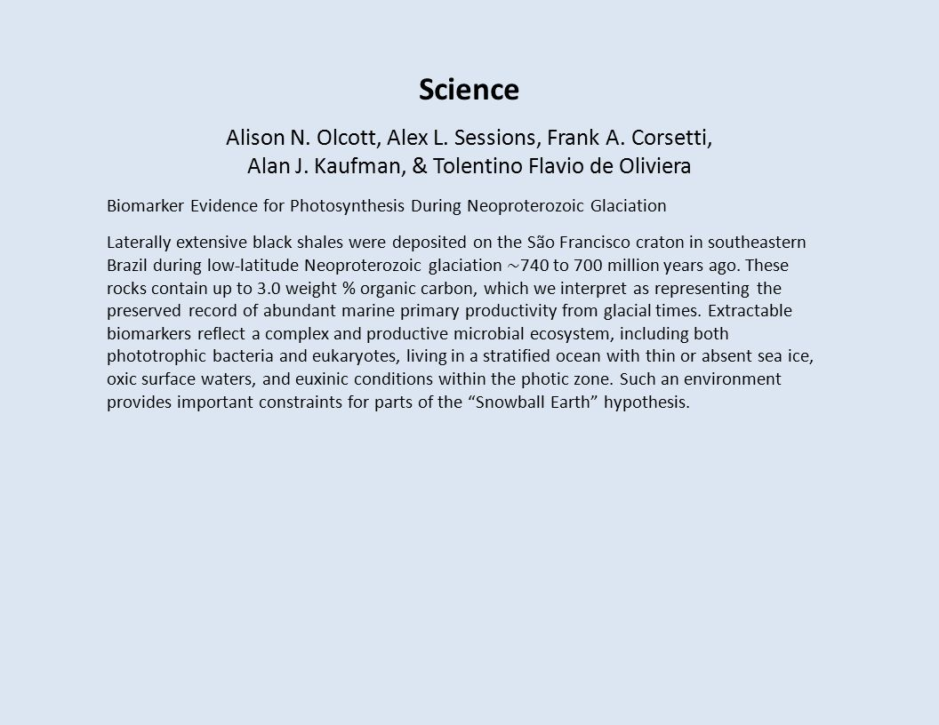 Science Alison N. Olcott, Alex L. Sessions, Frank A.